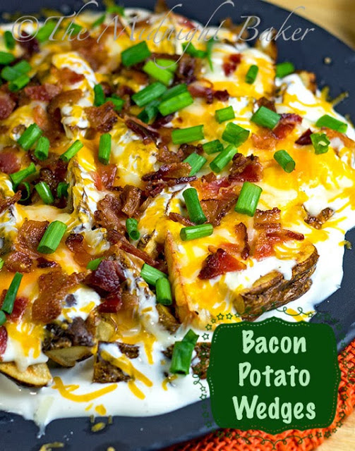 Bacon Cheese Potato Wedges #PartyFood #HolidayAppetizers #appetizers #bakedpotatoes