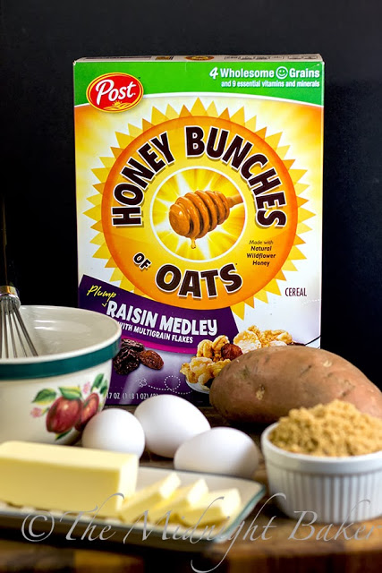 Post Honey Bunches of Oats and ingredients for Praline Sweet Potato Crunch