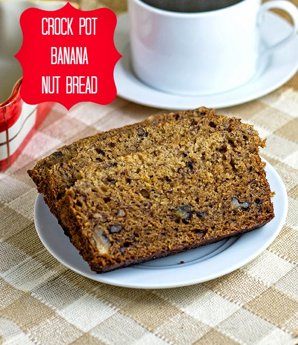 Crock Pot Banana Nut Bread #SlowCooker #CrockPot #CrockPotBaking #BananaNutBreadRecipe
