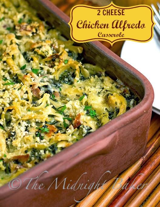 2-Cheese Baked Chicken Alfredo #casseroles #ChickenAlfredo