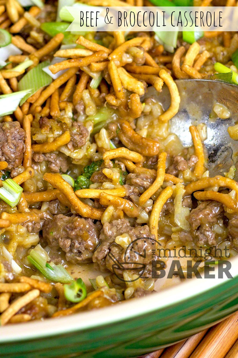 Delicious casserole version of the famous Chinese beef & broccoli.