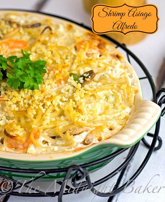 Shrimp Asiago Alfredo #FettucineAlfredo #AsiagoAlfredo #AlfredoSeafoodCasserole #SeafoodCasseroles
