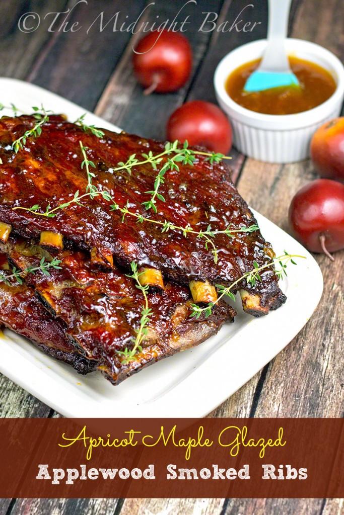 Apricot Maple Glazed Applewood Smoked Ribs | bakeatmidnite.com | #porkribs #smokedribs #BBQ