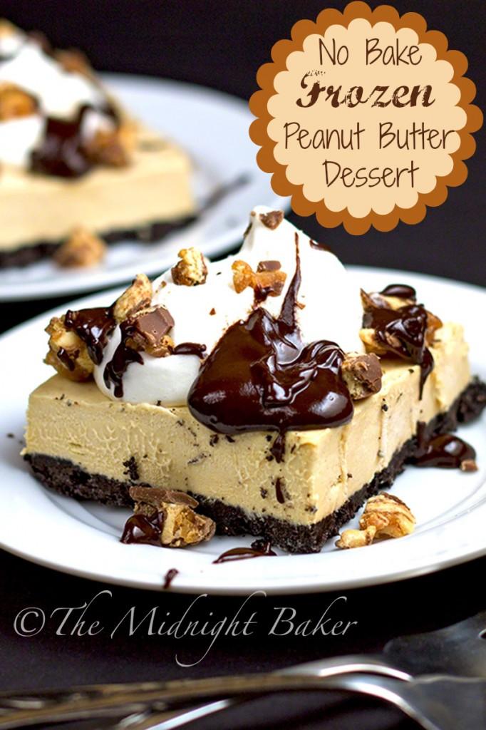 Easy Frozen Peanut Butter & Chocolate Dessert Bars | bakeatmidnite.com | #nobakedessets #peanutbuttercups #desserts