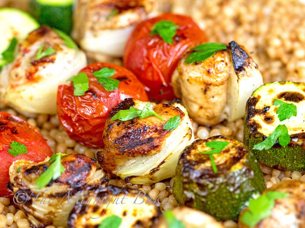 Moroccan Chicken Kabobs with Toasted Herbed Israeli Couscous   bakeatmidnite.com   #middleeasternfood #moroccanchicken #kabobs #couscous