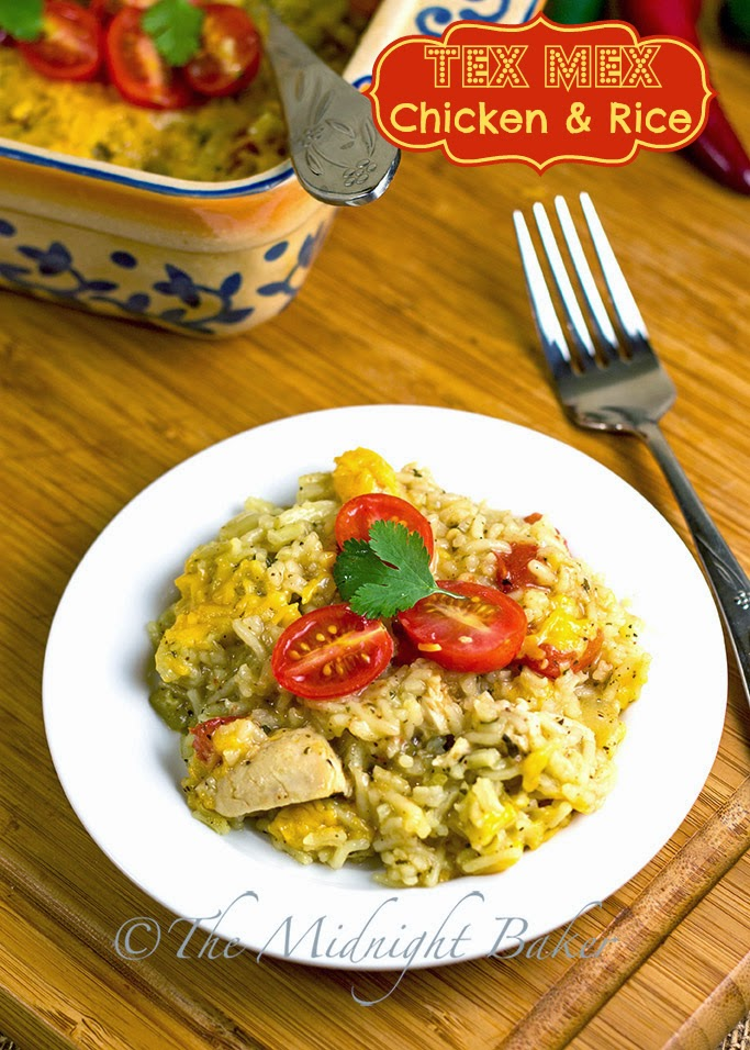 Tex Mex Chicken & Rice #TexMexRecipes #Casseroles #ChickenAndRice