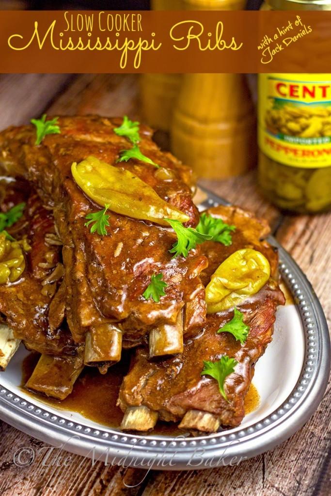 Slow Cooker Mississippi Ribs | bakeatmidnite.com | #mississipibeefroast #porkribs #jackdaniels #slowcooker #crockpot