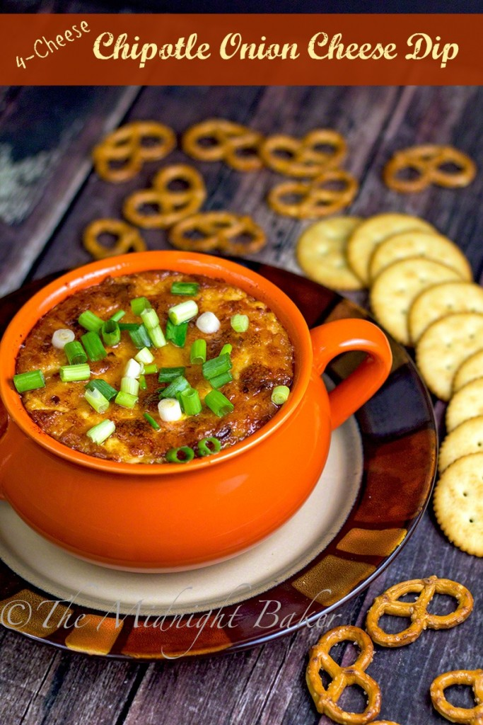 Hot Chipotle Onion Cheese Dip | bakeatmidnite.com | #dips #appetizers #hotdips