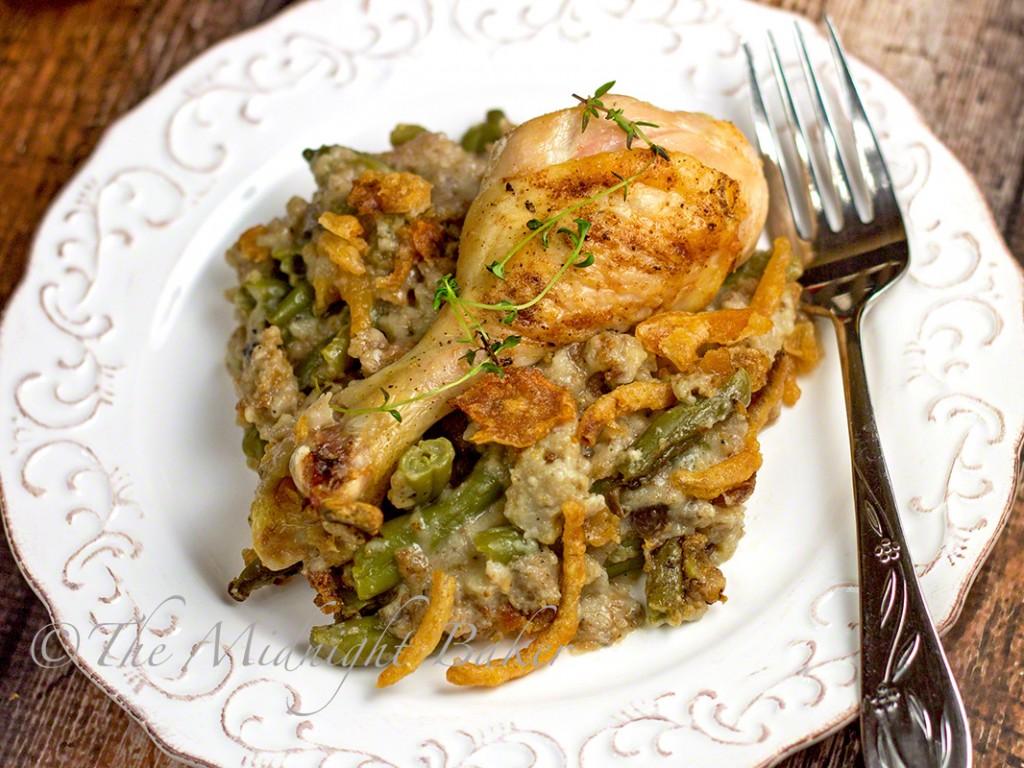 Chicken & Stuffing Supreme Casserole | bakeatmidnite.com | #poultry #greenbeancasserole #thanksgiving