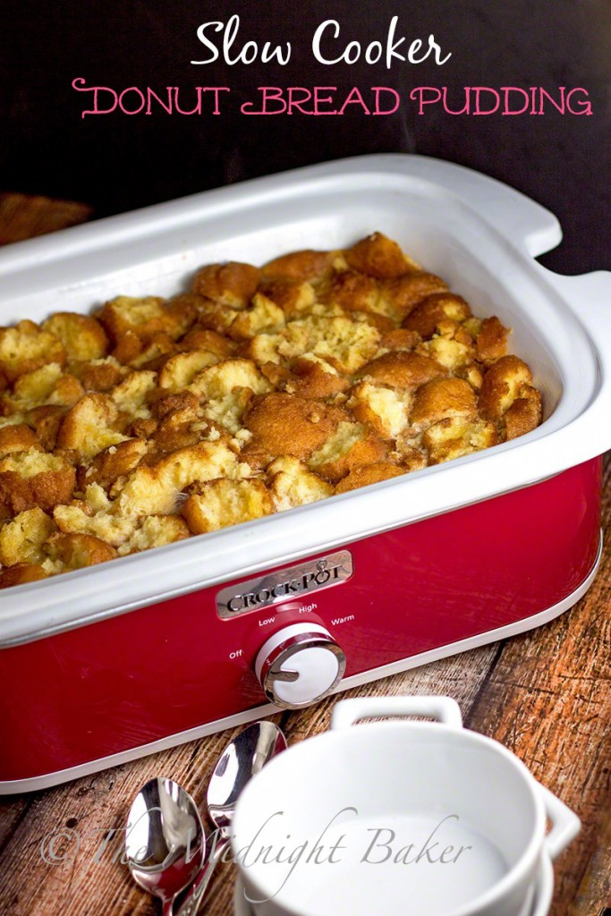 Slow Cooker Donut Bread Pudding | bakeatmidnite.com | #breadpudding #donuts #slowcooker #crockpot