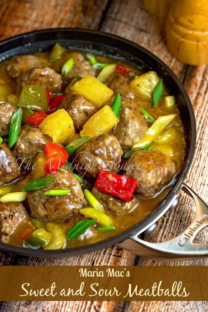 Maria Mac's Sweet & Sour Meat Balls | bakeatmidnite.com | #meatballs #sweetandsour #appetizers