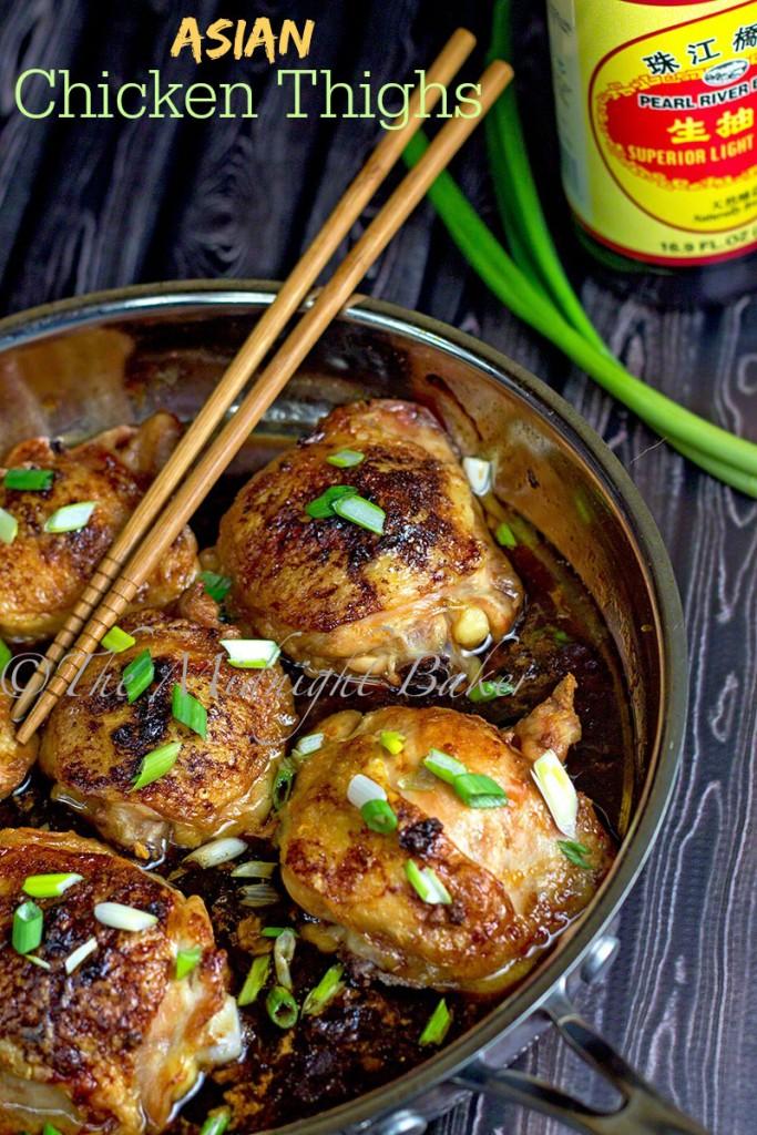 Asian Chicken Thighs   bakeatmidnite.com   #chicken #asian