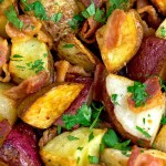 Easy to make! Uses bacon and 2 varieties of potatoes. Great with eggs for breakfast