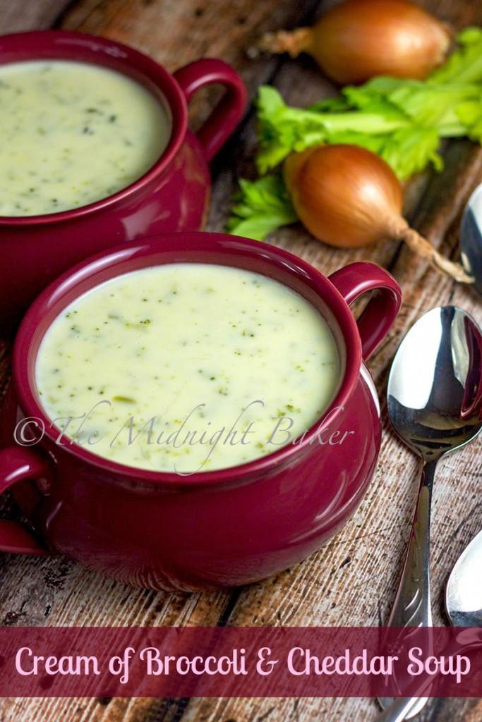 Cream of Broccoli Cheddar Soup | bakeatmidnite.com | #soup #creamofbroccoli