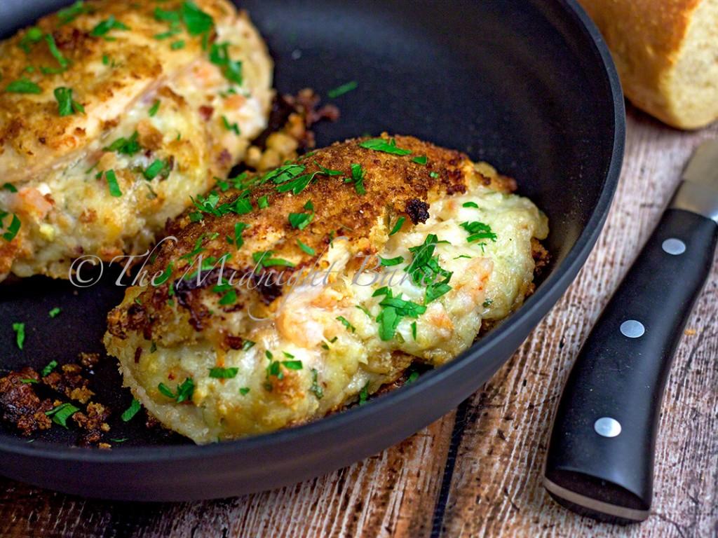 Shrimp & Bacon Alfredo Stuffed Chicken | bakeatmidnite.com | #alfredo #chicken #shrimp