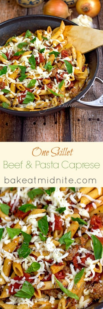 Skillet Beef Pasta Caprese with Fire Roasted Tomatoes   bakeatmidnite.com   #caprese #groundbeef