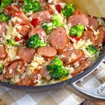 Smoked Sausage with Cheesy Rice Skillet Dinner
