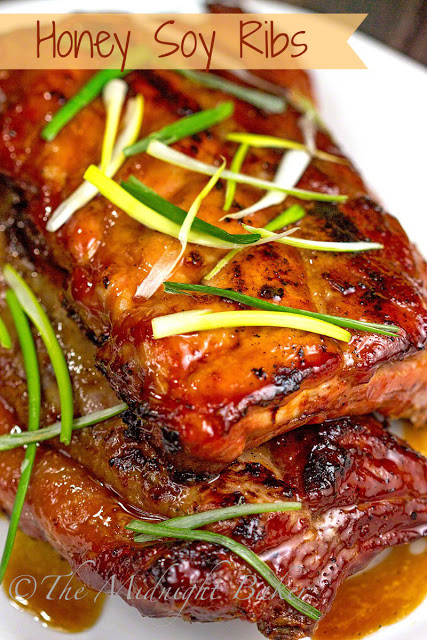Honey Soy Ribs | bakeatmidnite.com | #pork #ribs #recipe