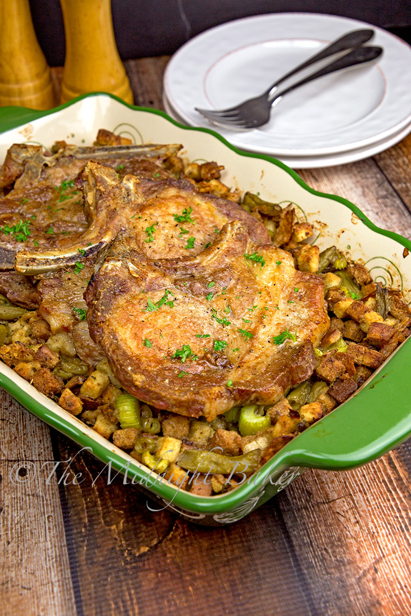 Roasted Pork Chops with Savoury Stuffing