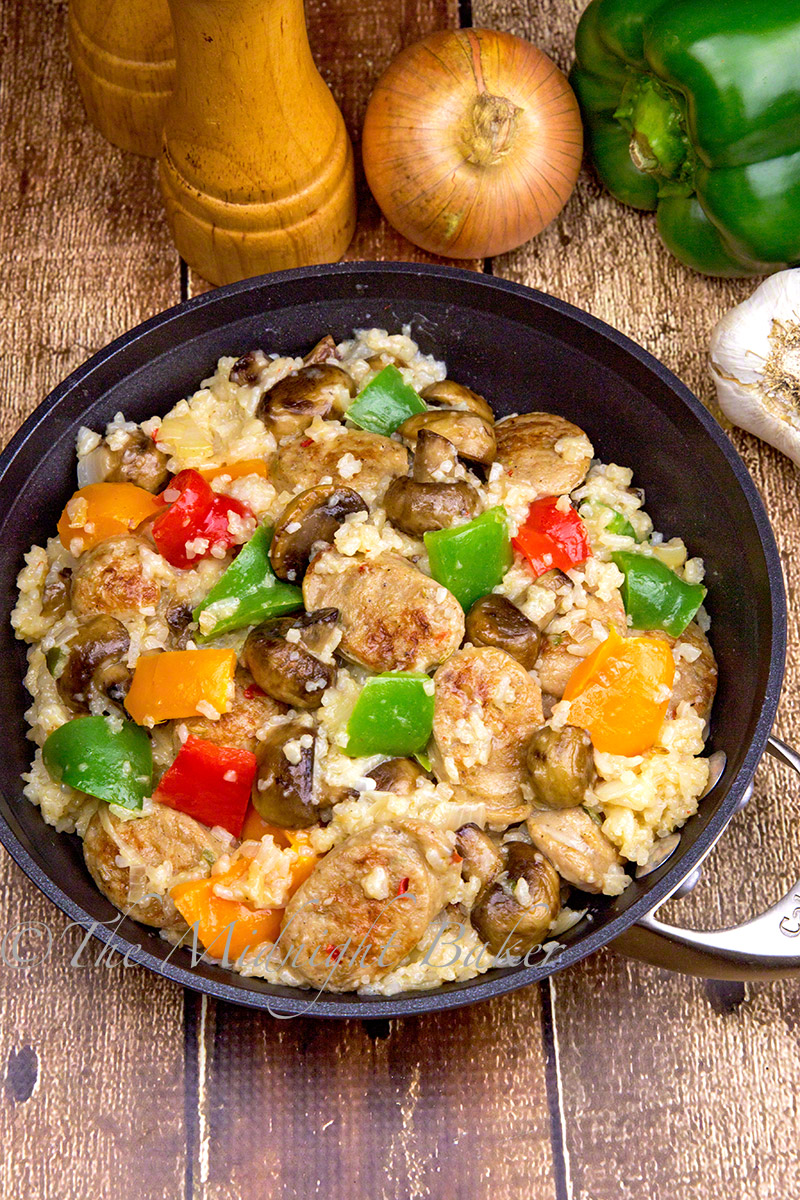 Delicious and filling. Uses leftover rice and chicken sausage