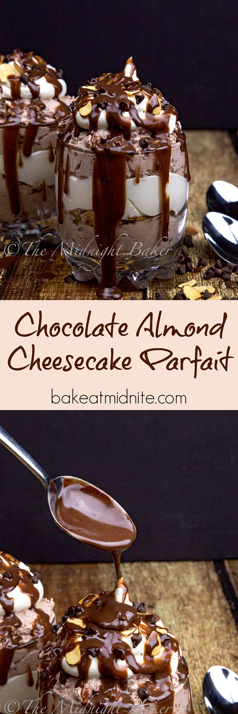 Decadent chocolate cheesecake and toasted almonds flavor this easy no-bake dessert