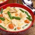 This cream of chicken soup is loaded with veggies and noodles--just like a pot pie without the crust!