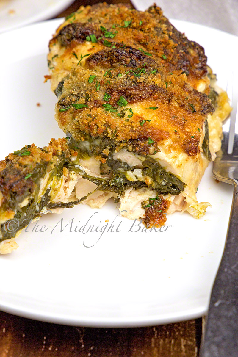Super-moist chicken breasts stuffed with a garlicky spinach and mozzarella filling