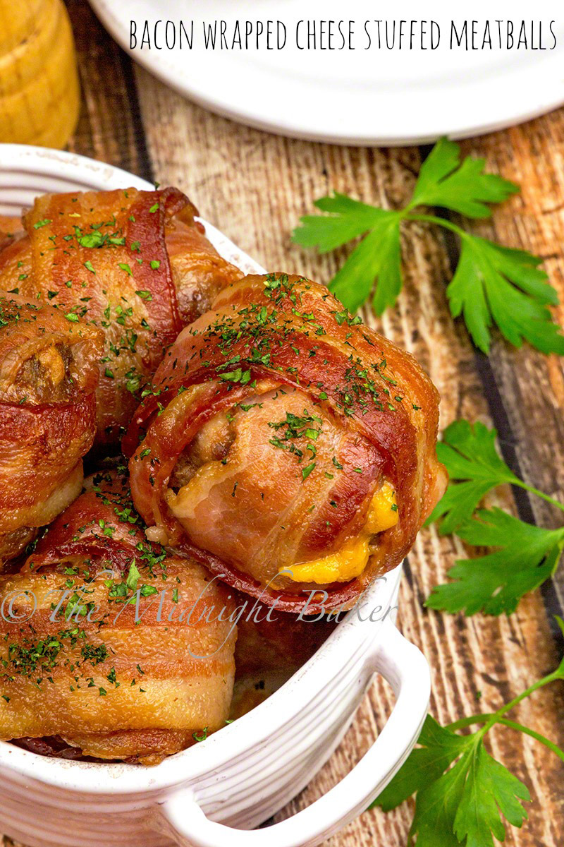 How much better can meatballs get! Wrapped in bacon and stuffed with sharp cheddar cheese!