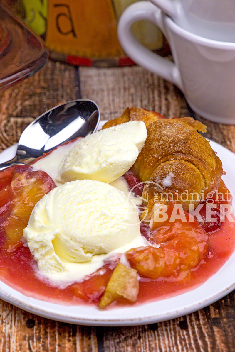 Quick and easy cobbler made with fresh peaches and crescent rolls.