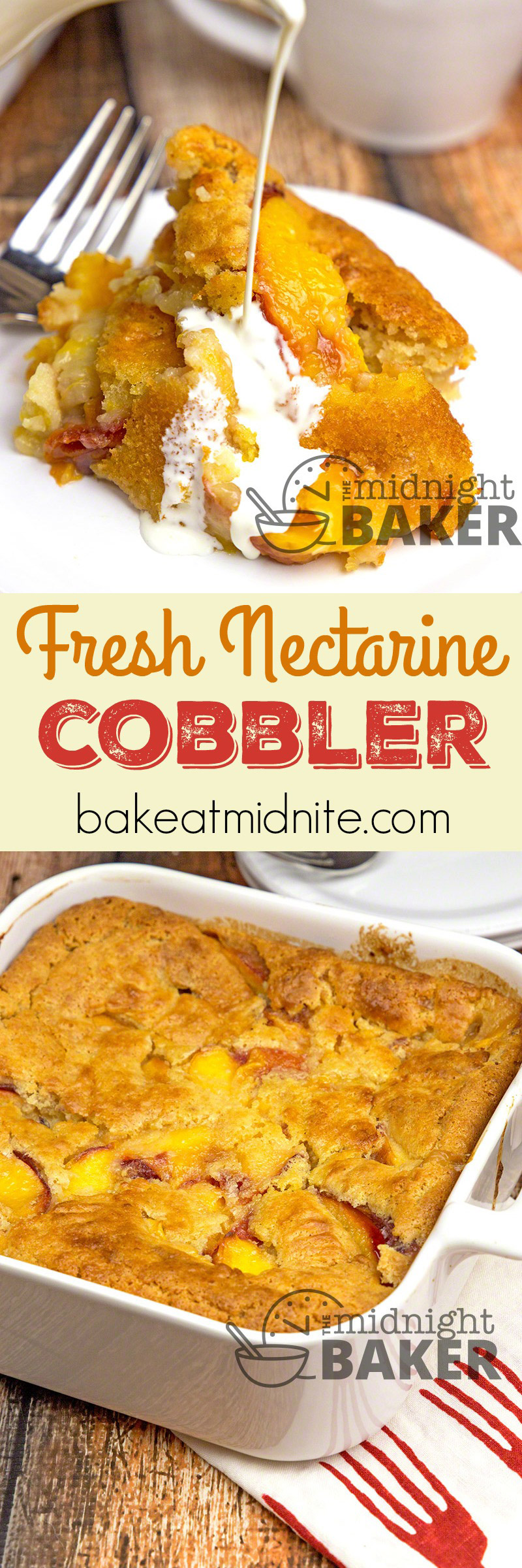 Nectarines spell summer and what better way to use them than in this simple and tasty cobbler. Peaches may be subbed for the nectarines.
