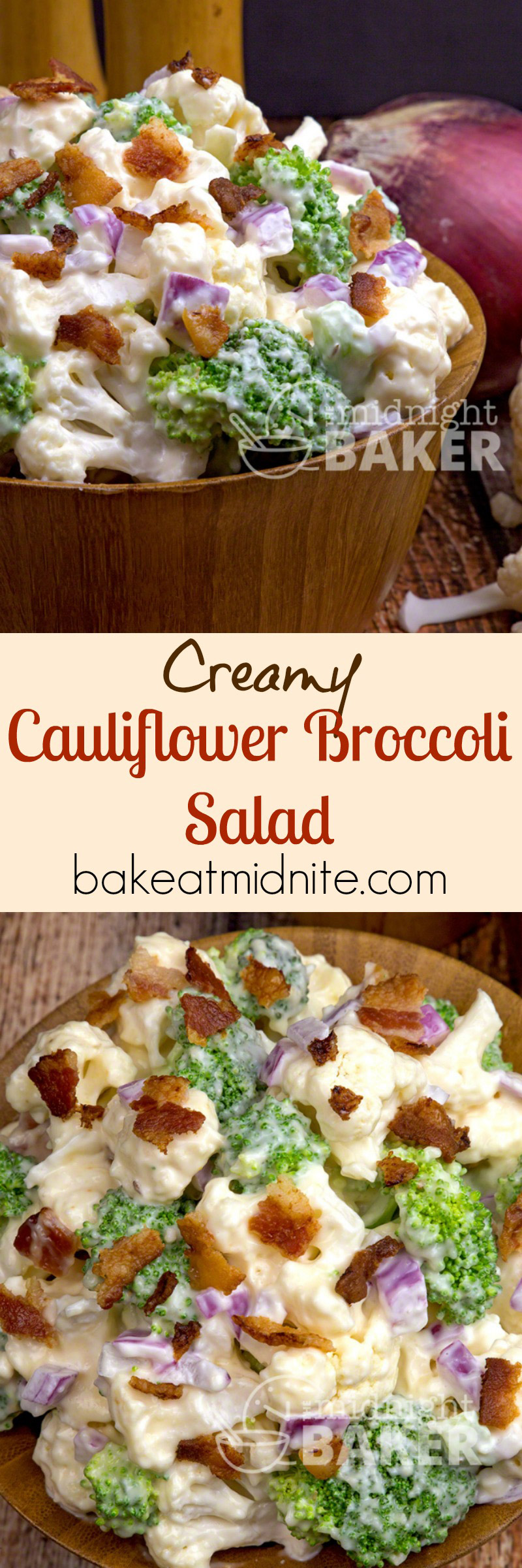 Crunchy raw cauliflower and broccoli in an awesome creamy dressing and a hint of bacon.