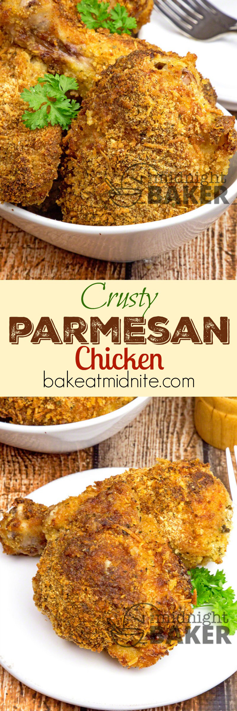 Juicy baked chicken with a crusty parmesan crumb coating.