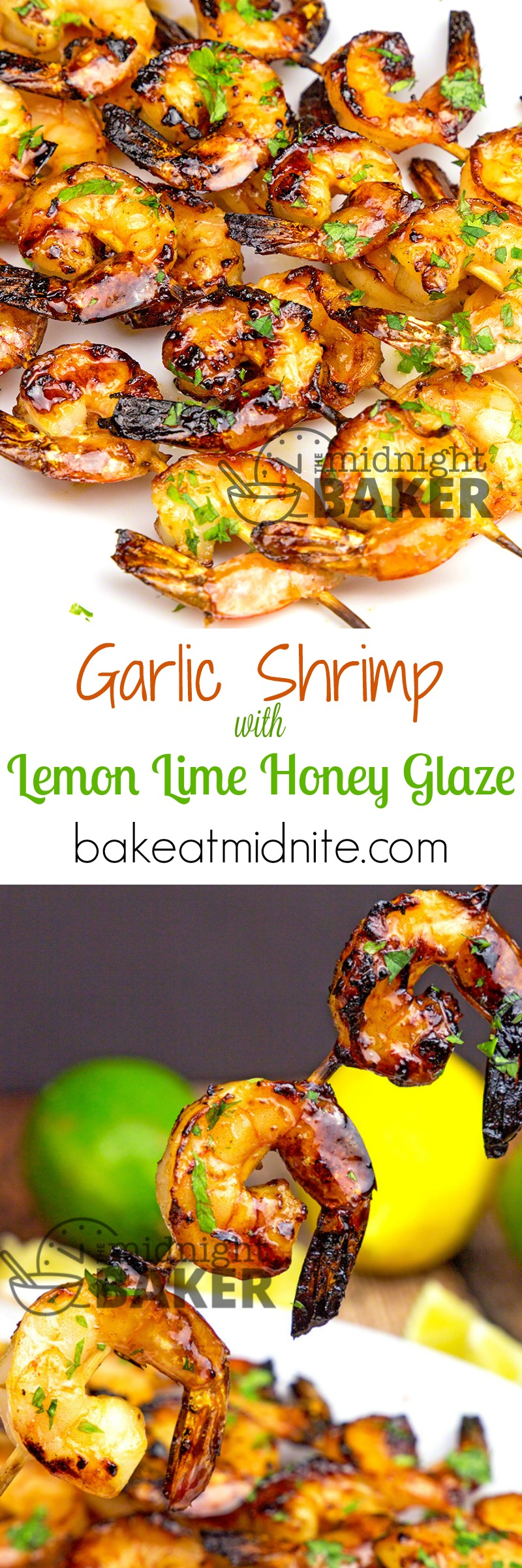 Shrimp with a wonderful garlic flavor glazed with a sweet but tangy lemon lime glaze.
