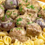 This meatball stroganoff is a quick slow cooker meal. Cooks in 3 hours. Make the meatballs ahead or use store-bought frozen in a pinch.