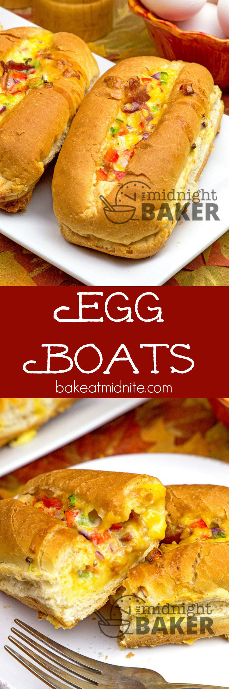 Have breakfast for dinner with egg boats! Scrambled eggs and bacon cook right in the roll.