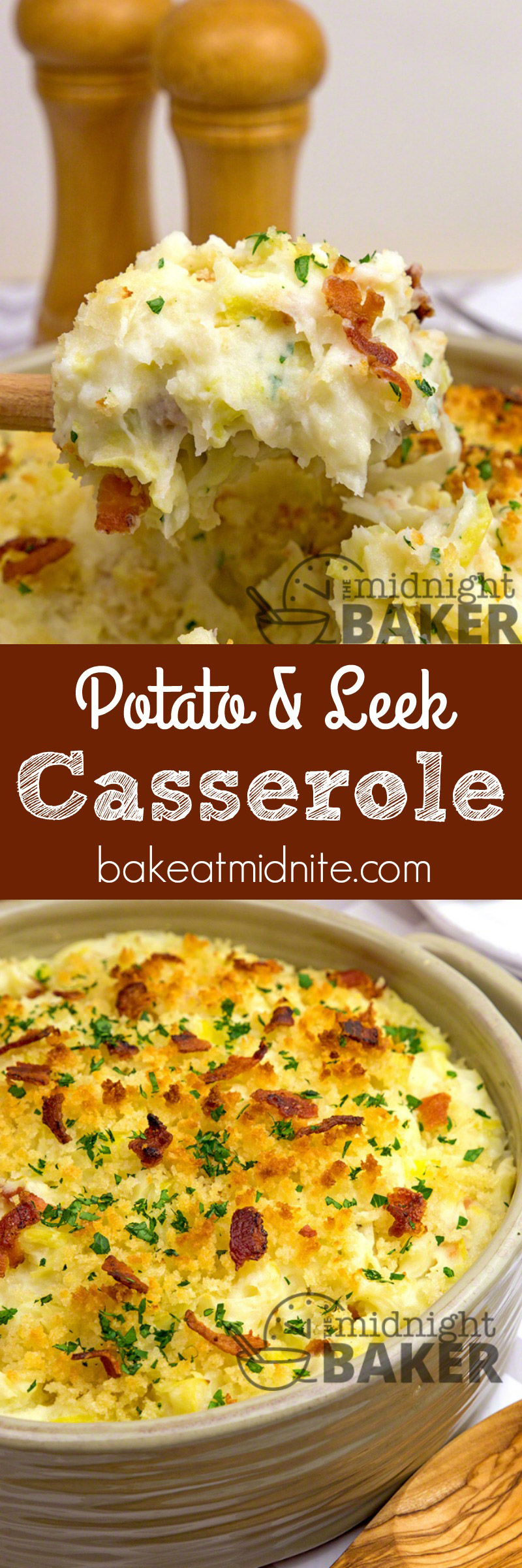 Velvety mashed potatoes combine with savory sauteed leeks to make this tasty side dish casserole. This could be a meal in itself!
