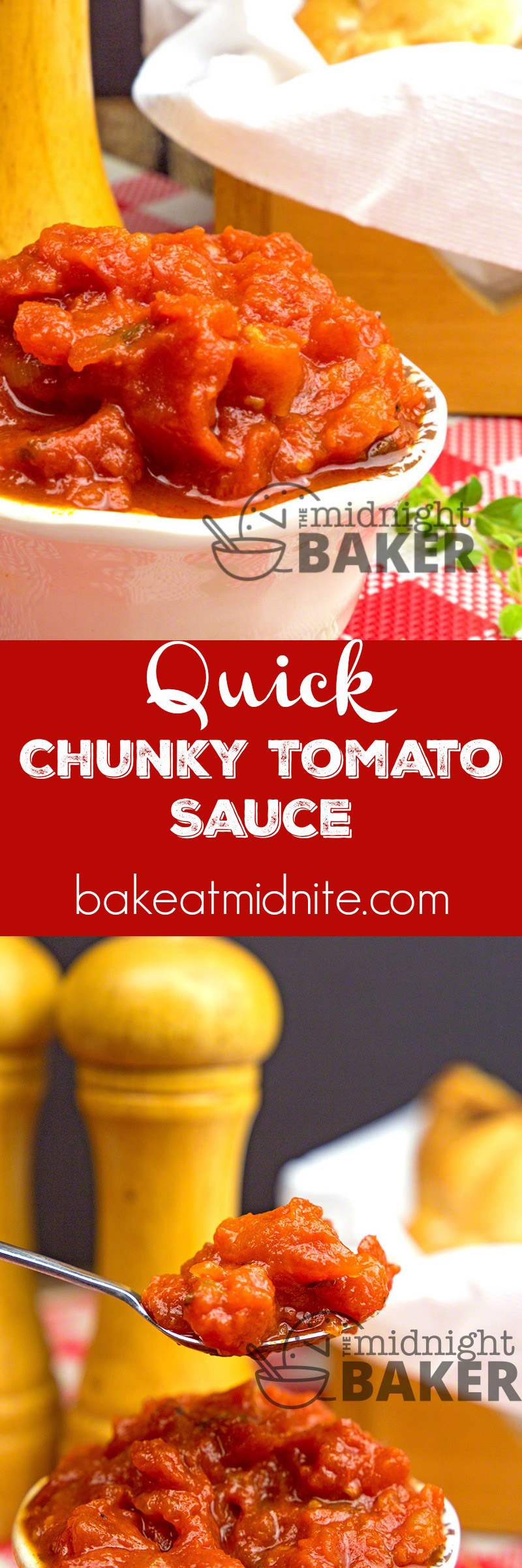 A quick chunky tomato sauce that can be used on pastas and many other dishes. All it takes is 15 minutes!