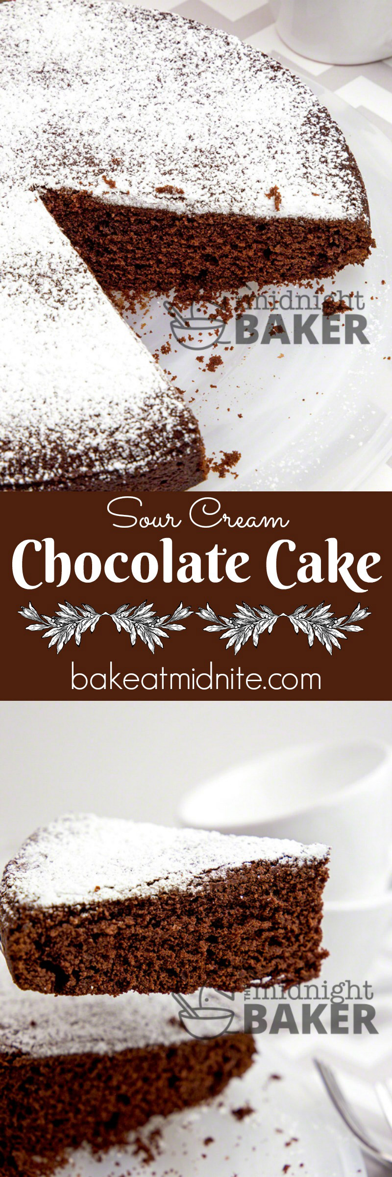 Rich sour cream gives this chocolate cake it's great texture and flavor. It's rich so no icing is necessary!