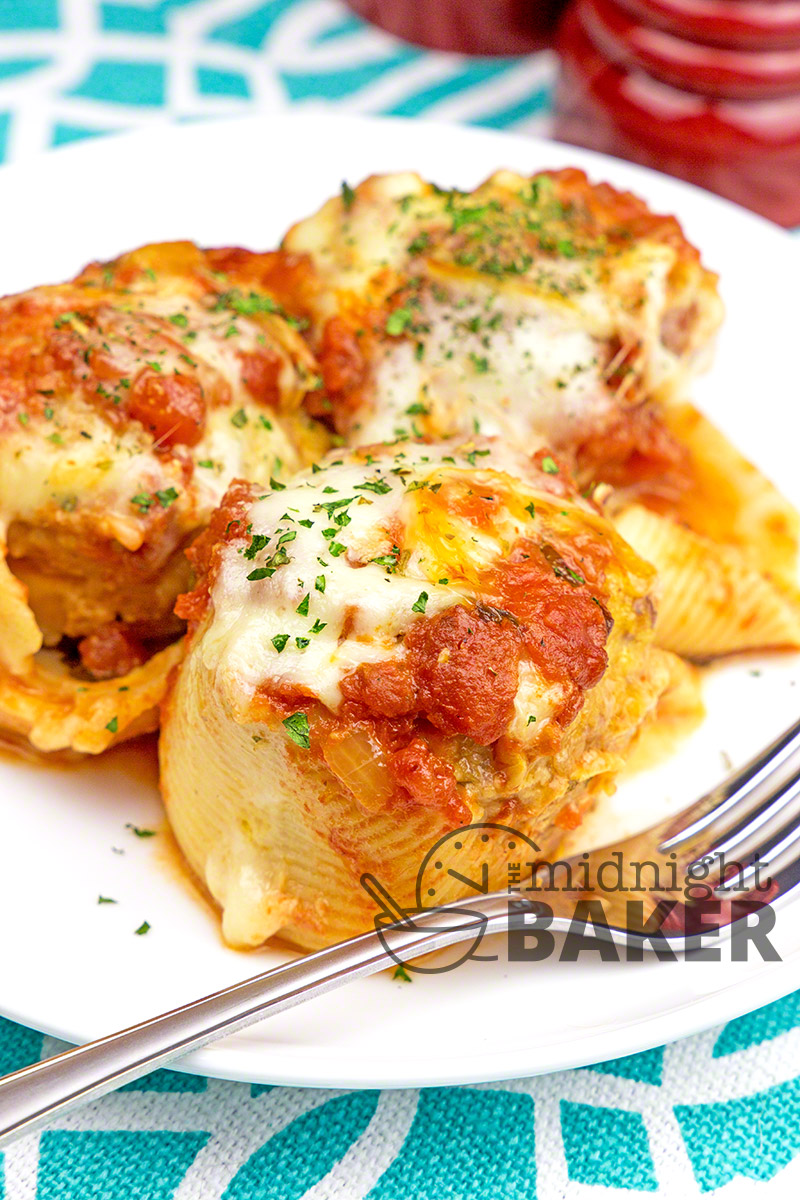 These pasta shells are stuffed with Italian sausage and cheese all baked in a chunky tomato sauce.