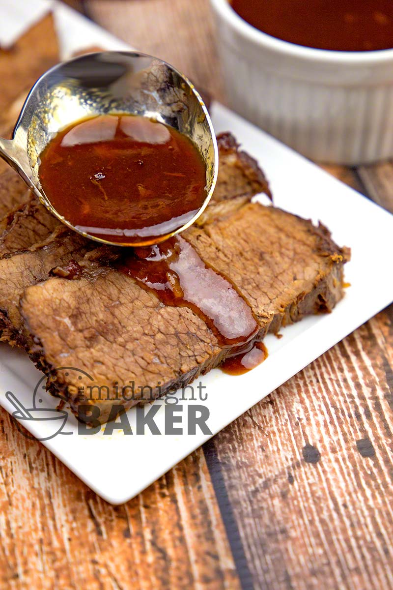 This brisket is cooked low and slow in the oven so the flavor infuses throughout the meat. May also be cooked in the slow cooker.