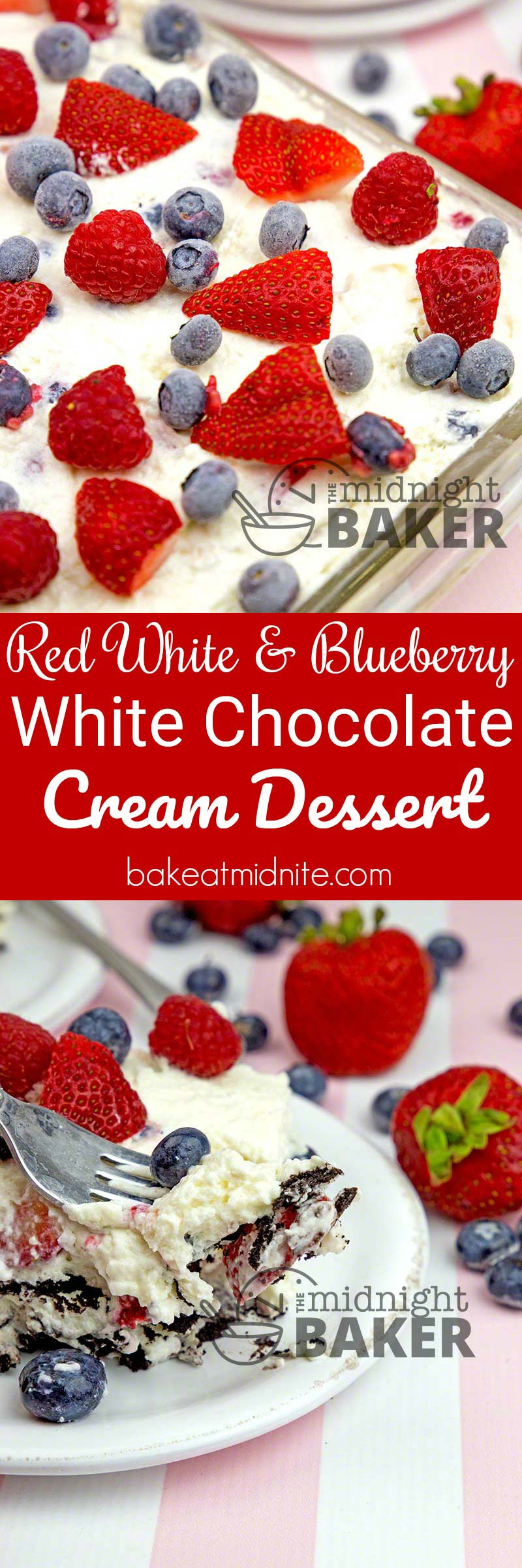 A truly patriotic dessert! Red raspberries, strawberries and blueberries mixed together in a white chocolate creamy filling separated by thin chocolate wafers