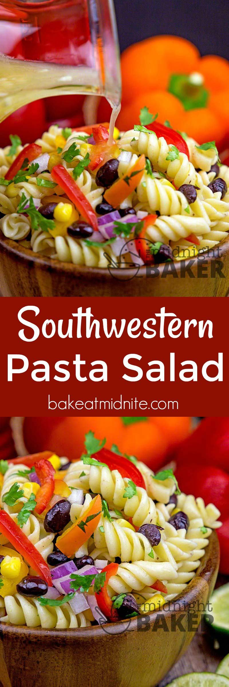 Delicious pasta salad and dressing with a southwestern taste. May also be eaten as a main course.