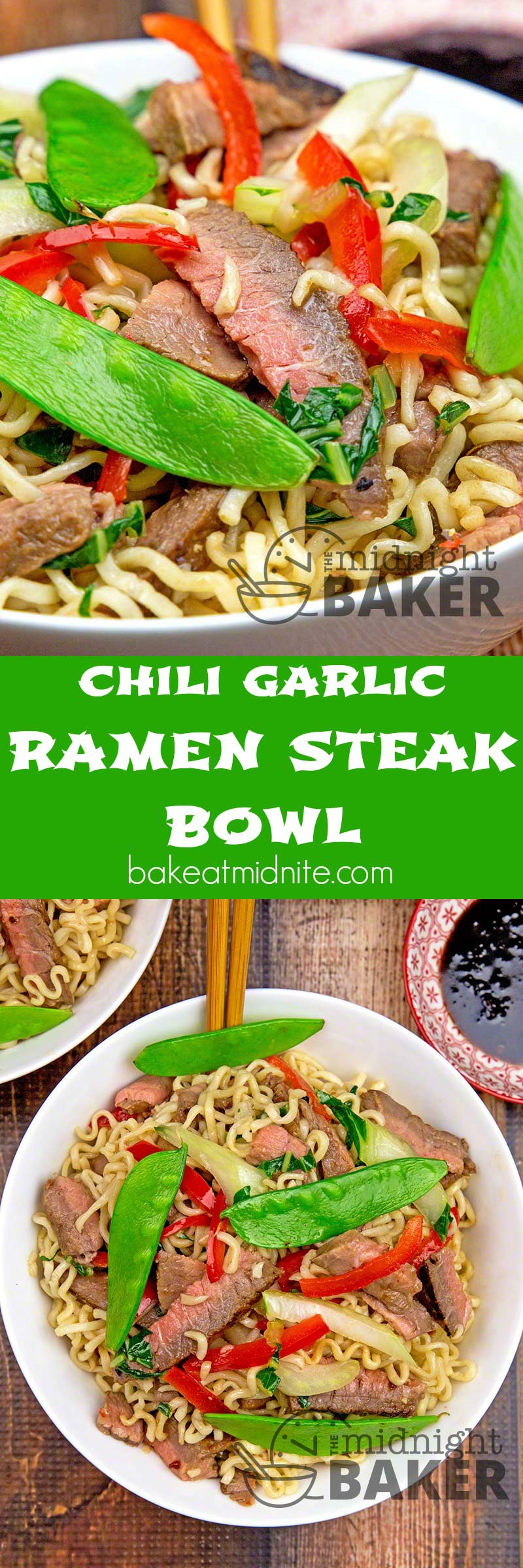 Easy peasy meal! Leftover steak, ramen noodles and veggies with a great chili garlic flavor. What could be easier?