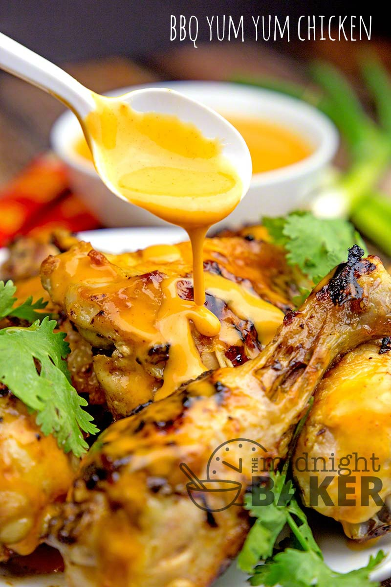 Delicious grilled chicken with a tasty yum yum sauce glaze