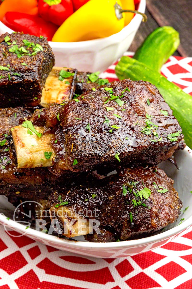 Beef short ribs with an extra-special rub. Roasted low and slow on your BBQ grill, in the oven or the slow cooker!