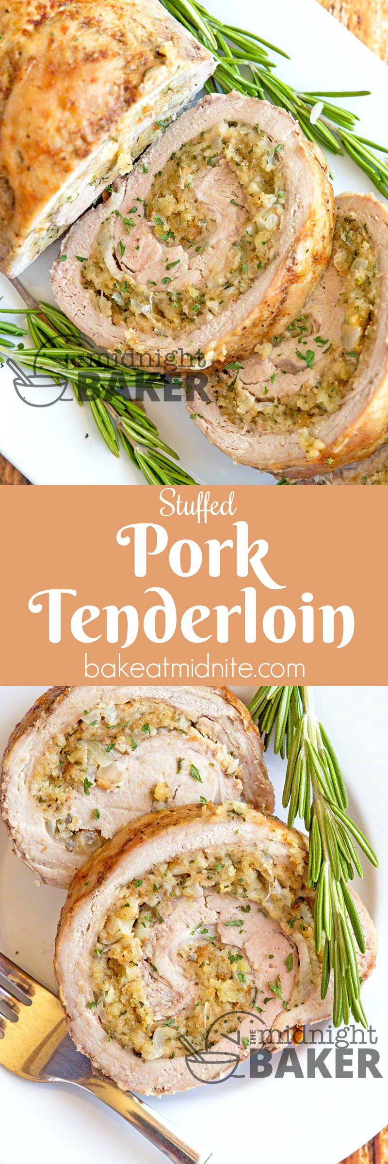 Succulent pork tenderloin stuffed with a rich buttery soft-bread herb stuffing. It's easy to make too!