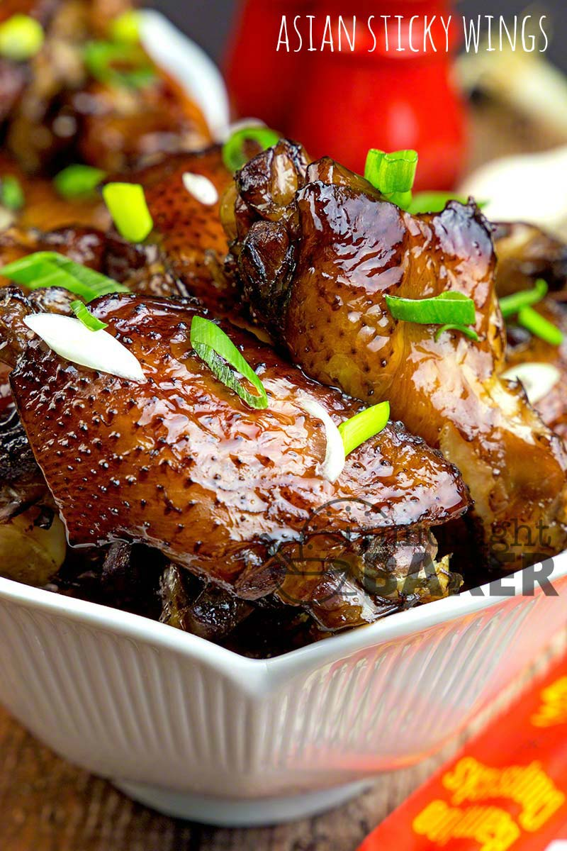 Get your napkins ready! These wings have a wonderful soy-based glaze and are messy but oh-so worth it!