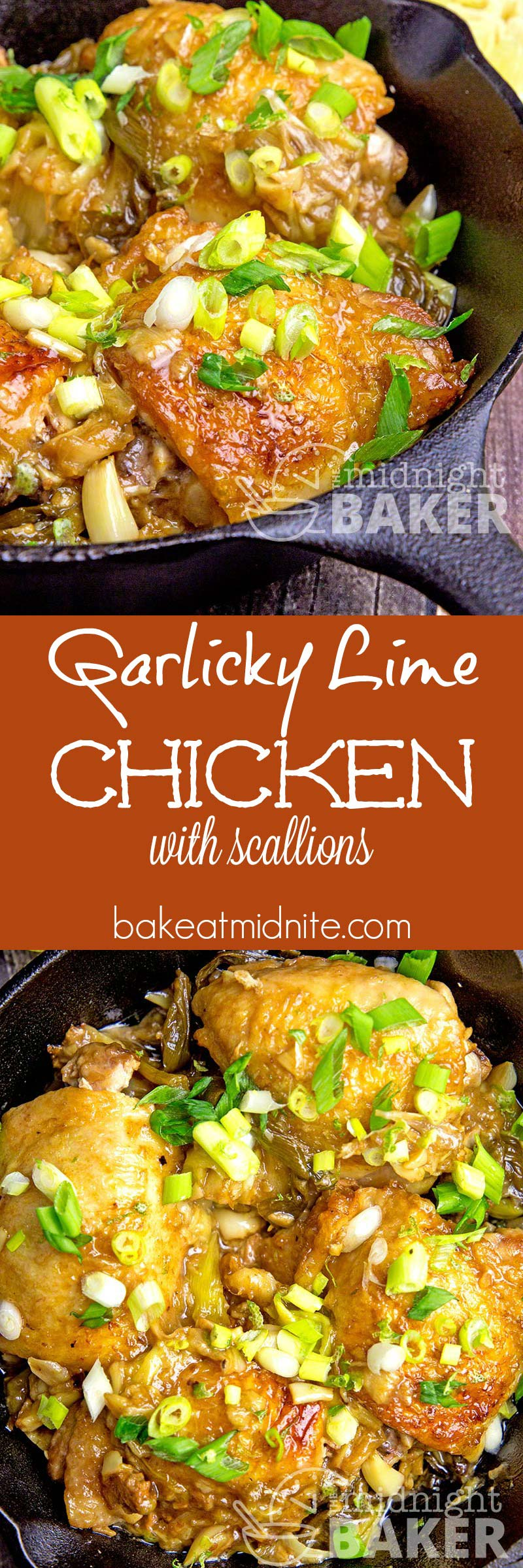 Quick and easy skillet chicken dinner with great garlic flavor with a hint of lime.