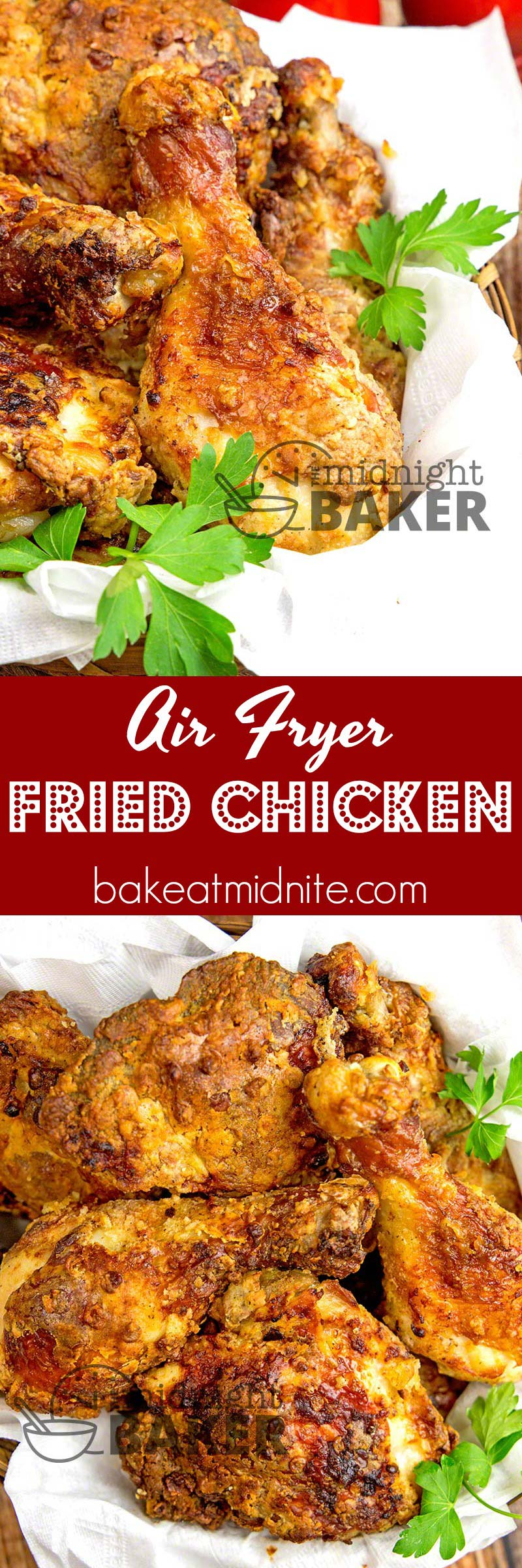 The crispiest fried chicken you'll ever eat. Hardly uses any fat using an air fryer.
