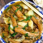 Delicious and easy pork stir fry with the great taste of garlic and cooling bok choy.
